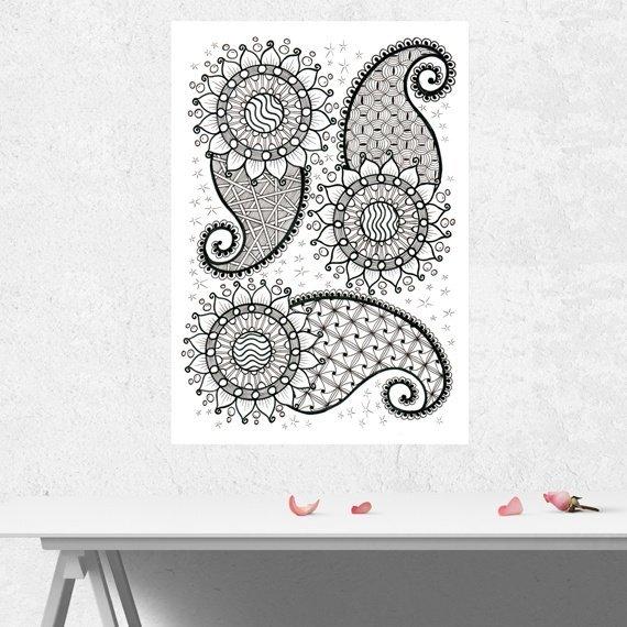 Positive Mindful Colouring Sheet Artwork Poster Print – Paisley Power Kind Shop