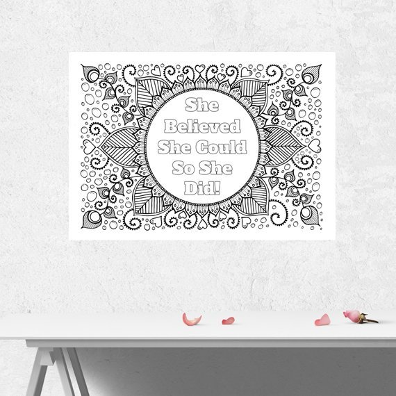 Positive Mindful Colouring Sheet Artwork Poster Print With Motivational Quote – She Believed She Could Kind Shop