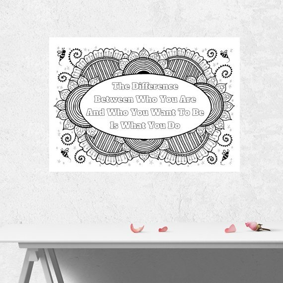 Positive Mindful Colouring Sheet Artwork Poster Print With Motivational Quote – Who You Are Kind Shop