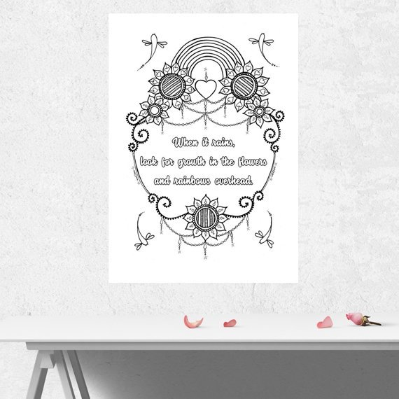 Positive Mindful Colouring Sheet Artwork Poster Print With Inspirational Quote – When It Rains Kind Shop