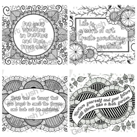 Positive Mindful Colouring Sheets With Inspirational Quotes – Saver Set Of Four A4 Sized Kind Shop