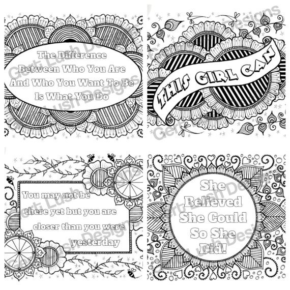 Positive Mindful Colouring Sheets With Motivational Quotes – Saver Set Of Four A4 Sized Kind Shop