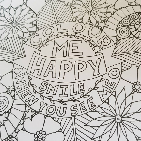 A4 Print At Home Positive Mindful Colouring Sheet For Mental Health Kind Shop 2