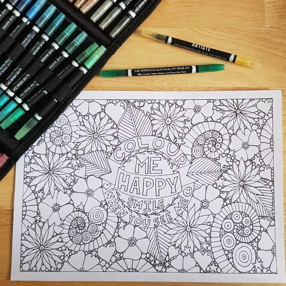 A4 Print At Home Positive Mindful Colouring Sheet For Mental Health Kind Shop