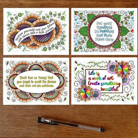 Positivity Postcards With Inspirational Quotes Coloured Artwork – Set Of 4 Kind Shop