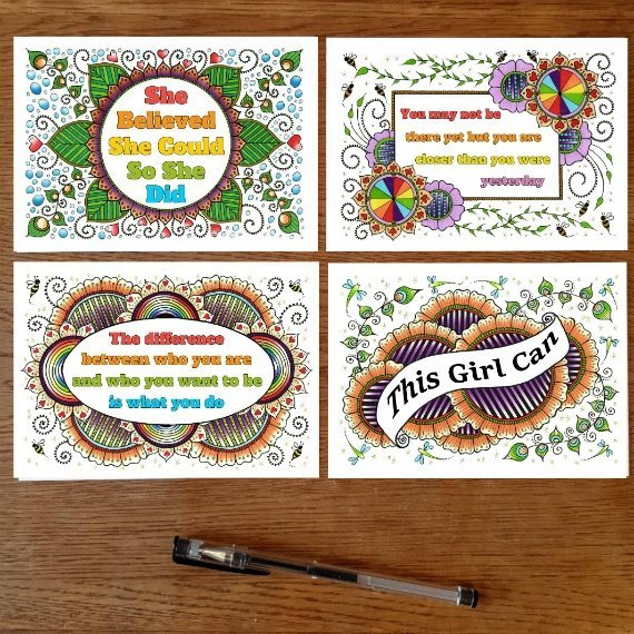 Positivity Postcards With Motivational Quotes Coloured Artwork – Set Of 4 Kind Shop