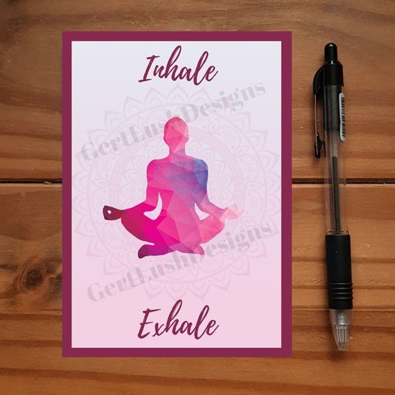 Yoga Meditation Art Positivity Postcards With Inspirational Quotes Coloured Artwork – Set Of 4 Kind Shop 4