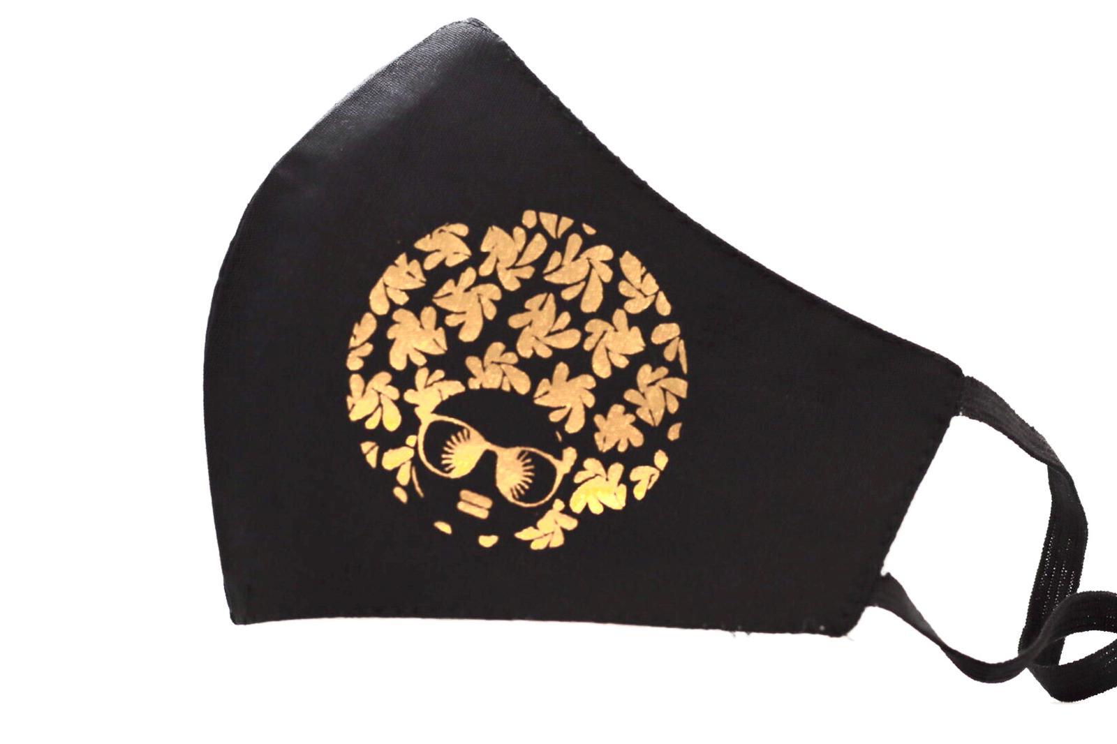 Gold Heat printed Afro Diva Mask Kind Shop 2