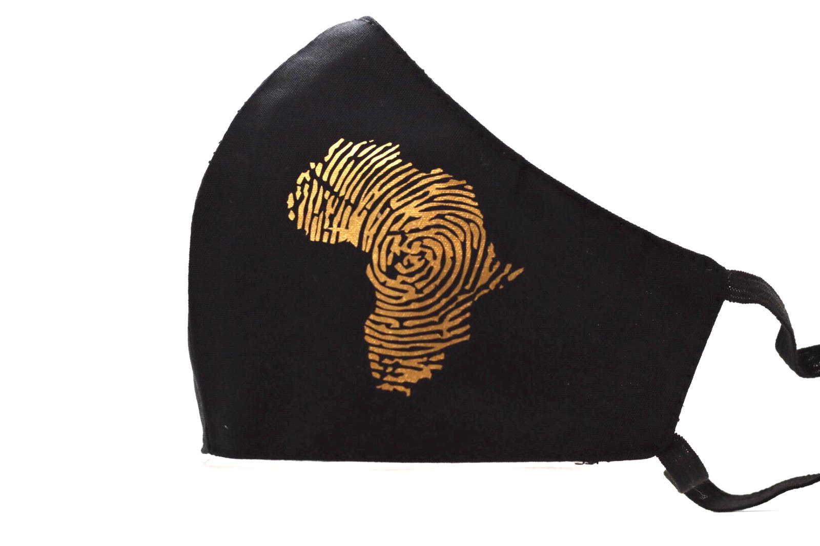 Gold Heat printed Africa Mask Kind Shop 3