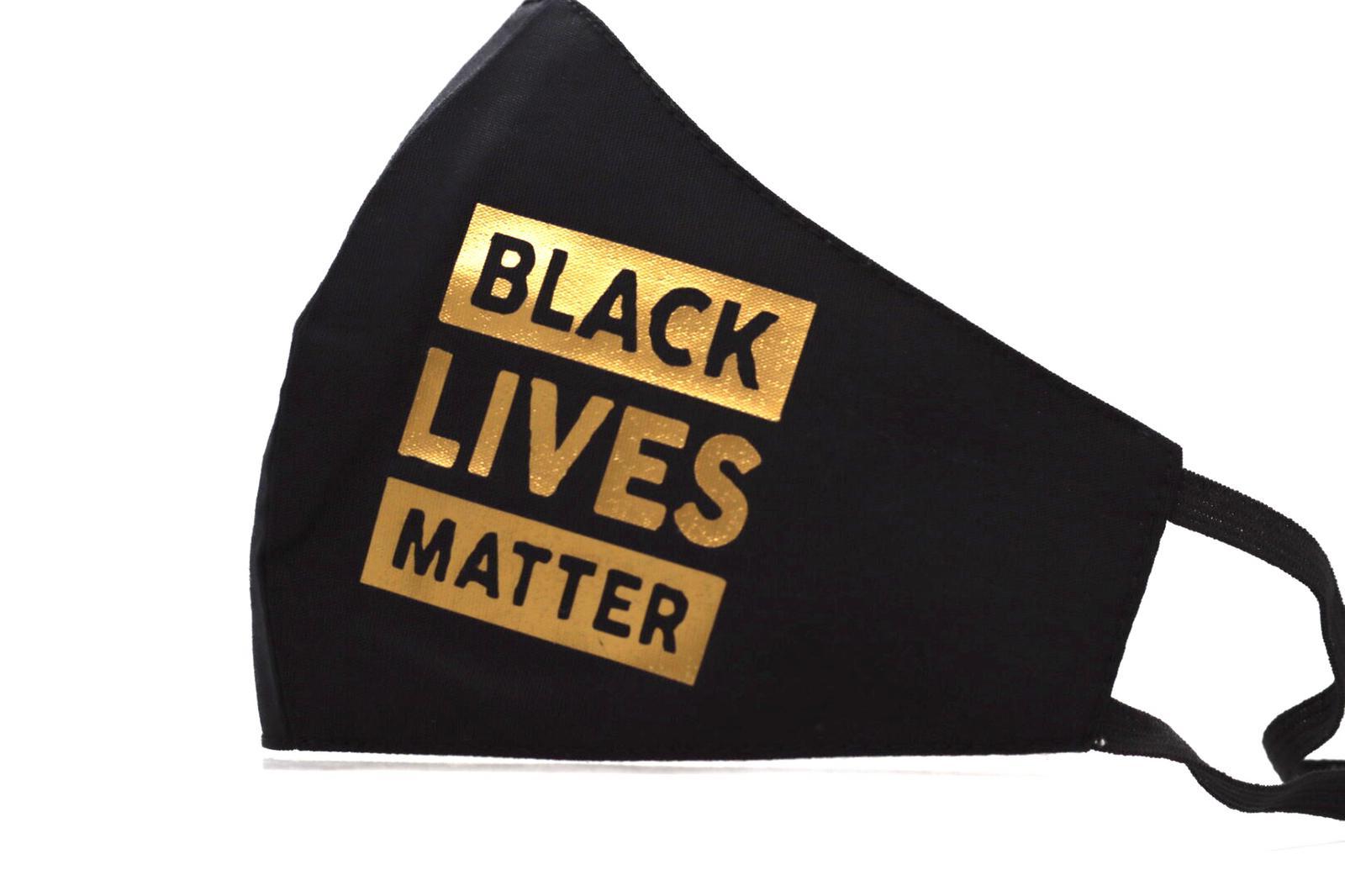Gold Heat Printed Black Lives Matter Mask Kind Shop 2