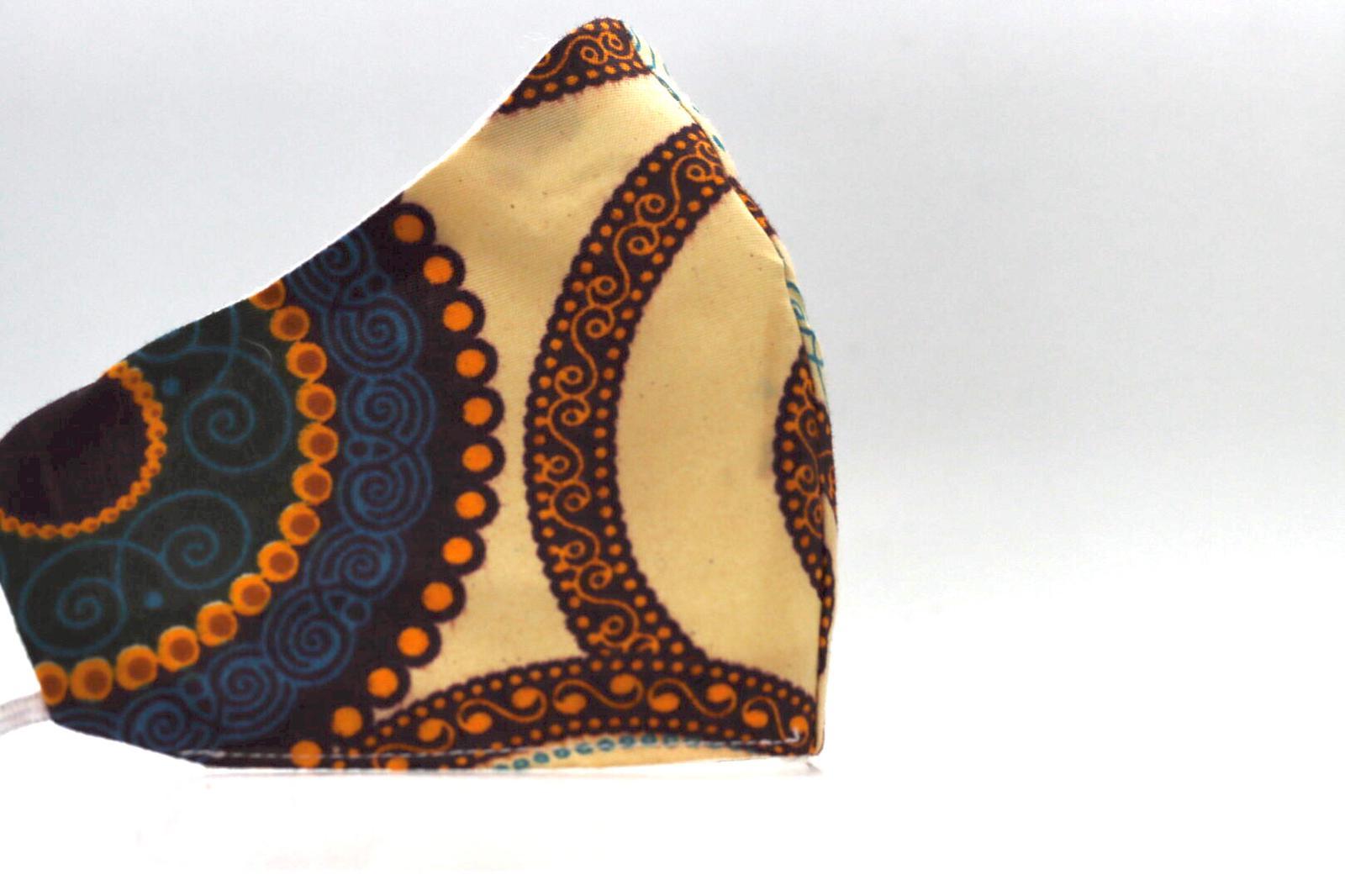 Printed Spiral – Natural, Brown, Navy Turquoise Mask Kind Shop 3