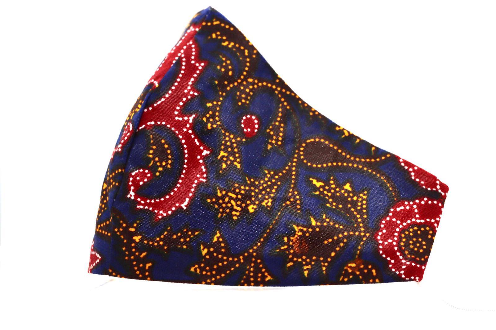 Printed Paisely Navy Ankara Mask Kind Shop 2