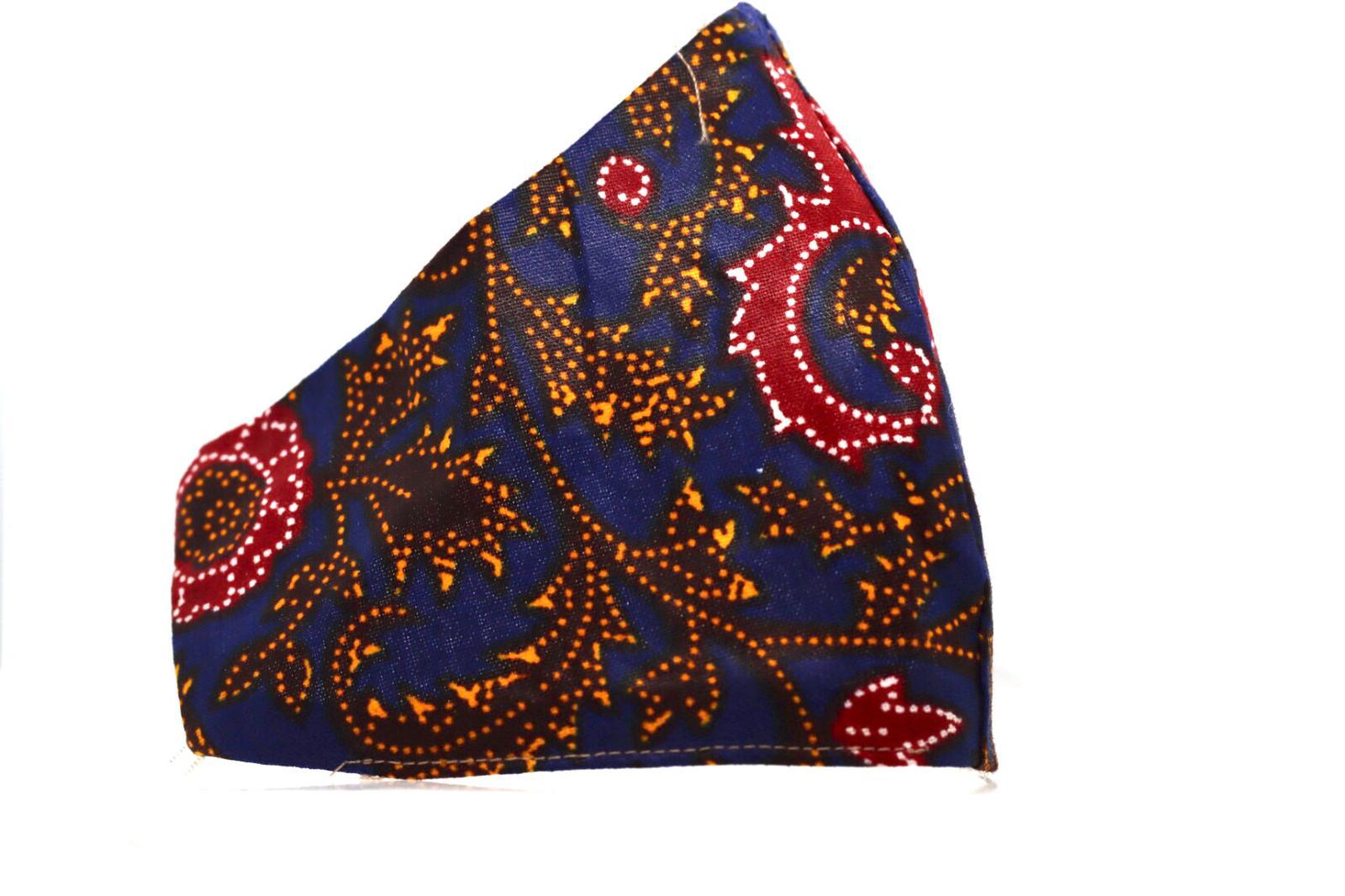 Printed Paisely Navy Ankara Mask Kind Shop 3