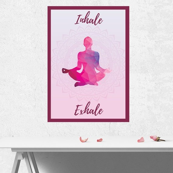 Yoga Meditation Positive Artwork Poster Print With Inspirational Positive Quote – Inhale Exhale Kind Shop