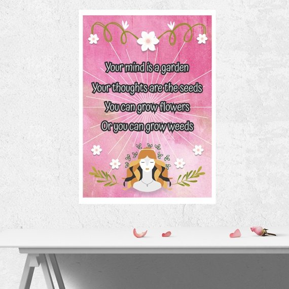 Positive Artwork Poster Print With Motivational Quote – Your Mind Is A Garden Kind Shop