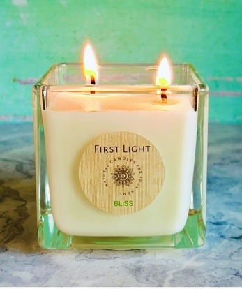 Vegan Soy Candle with Lemongrass and Basil Essential Oils. Double Wick Kind Shop