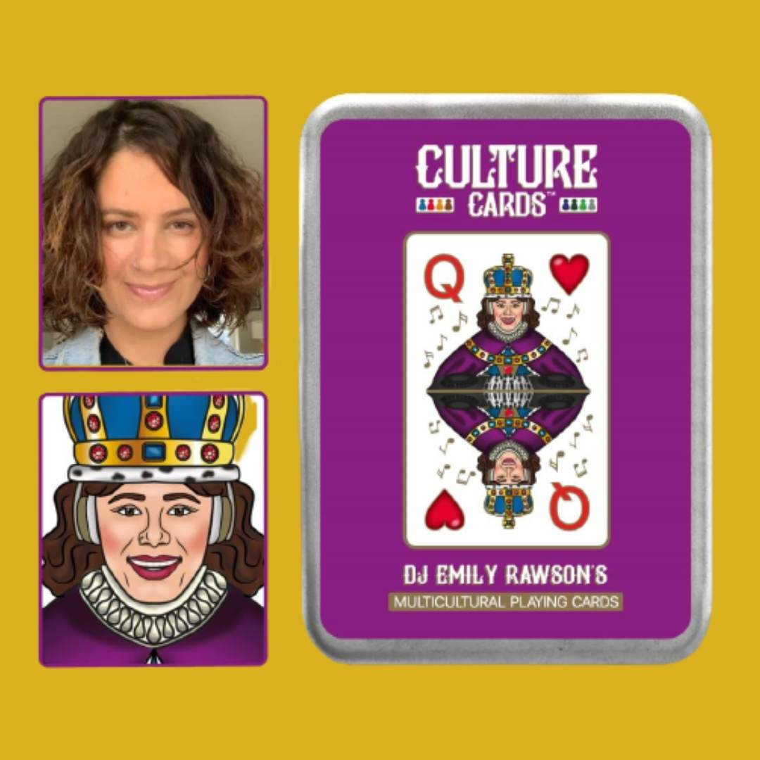 Be Illustrated on a Personalised Playing Card - Multicultural Skin Colour Card Deck, Celebrating Diversity Queen of Hearts