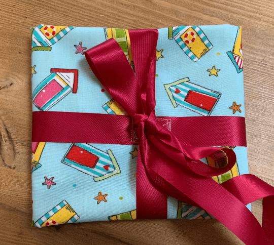 Reusable Fabric Gift Wrap (Blue Beach Huts) Kind Shop