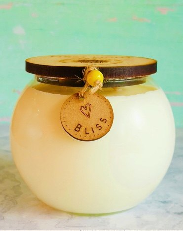 Vegan Soy Wax Candle with Lemongrass and Basil Essential Oils. Double Wick Bowl Kind Shop