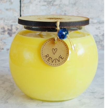 Vegan Soy Candle with Rosemary, Orange, Peppermint and Eucalyptus Essential Oils. Double Wick Bowl Kind Shop