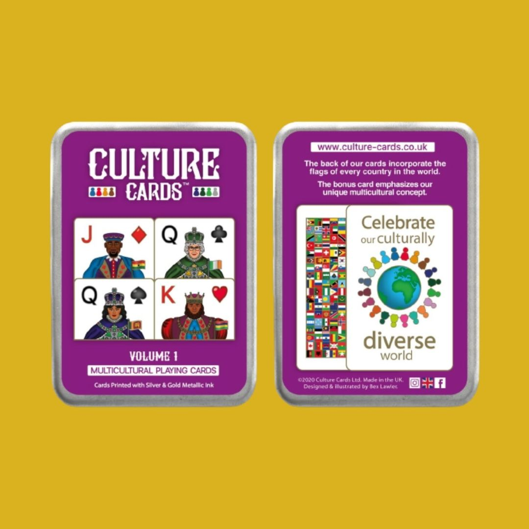 Culture Playing Cards Gift Tin - Multicultural Skin Colour Card Deck, Celebrating Diversity