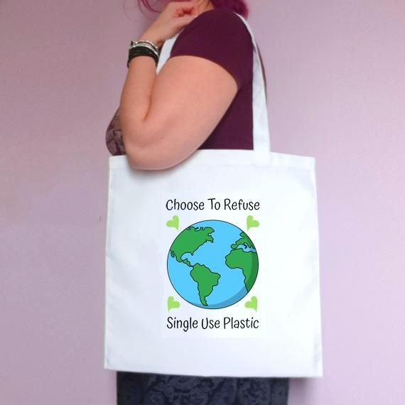 Eco-Friendly Reusable Fabric Tote Bag | Choose To Refuse Single Use Plastic Kind Shop
