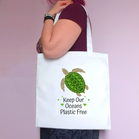 Eco-Friendly Reusable Fabric Tote Bag   Keep Our Oceans Plastic Free   Turtle Kind Shop