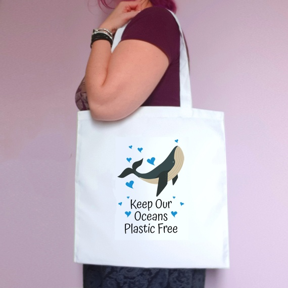 Eco-Friendly Reusable Fabric Tote Bag | Keep Our Oceans Plastic Free | Whale Kind Shop