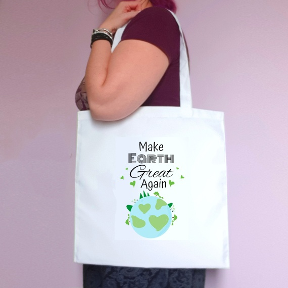 Eco-Friendly Reusable Fabric Tote Bag   Make Earth Great Again Kind Shop