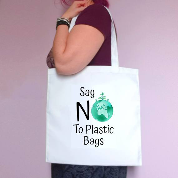 Eco-Friendly Reusable Fabric Tote Bag | Say No To Plastic Bags Kind Shop