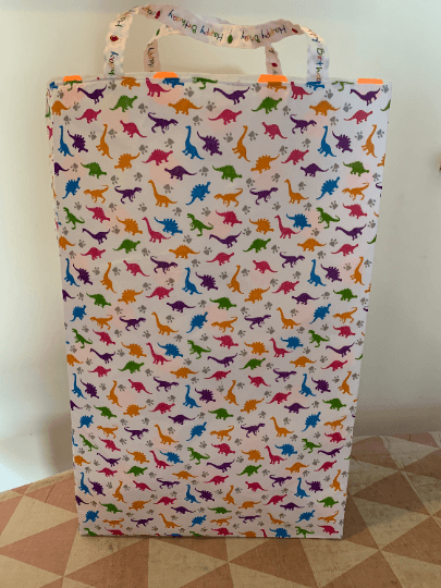 Extra Large Tall Reusable Kids Fabric Gift Bag with Handles (Dinosaur Print) Kind Shop