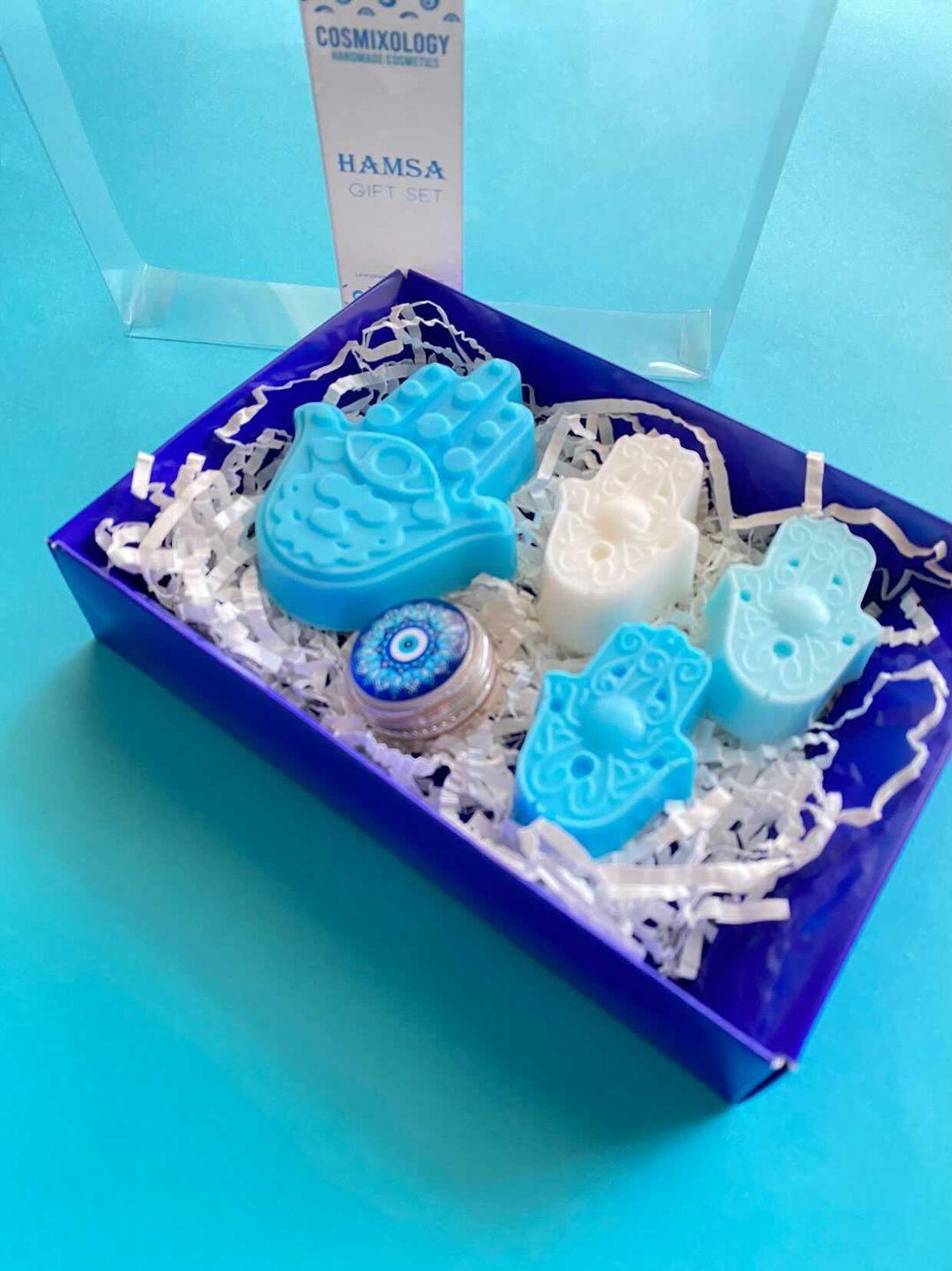 Hamsa Organic & Natural Soap and Lip Tint Gift Set - Uplifting Lemongrass & Clary Sage