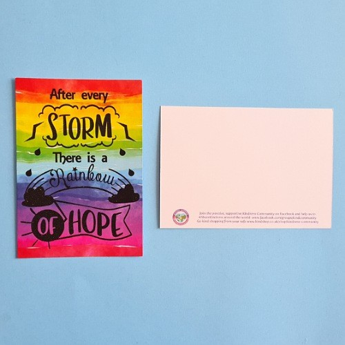 After every storm there are rainbows of hope postcard