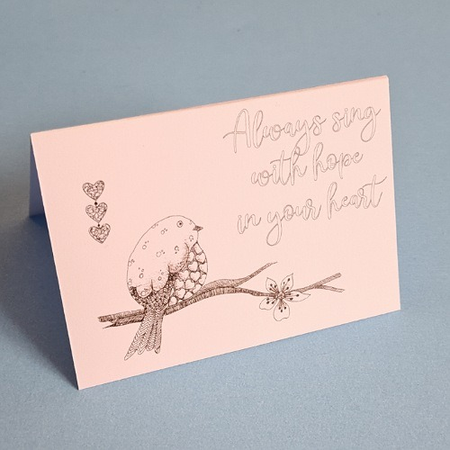 Always sing with hope in your heart quote card