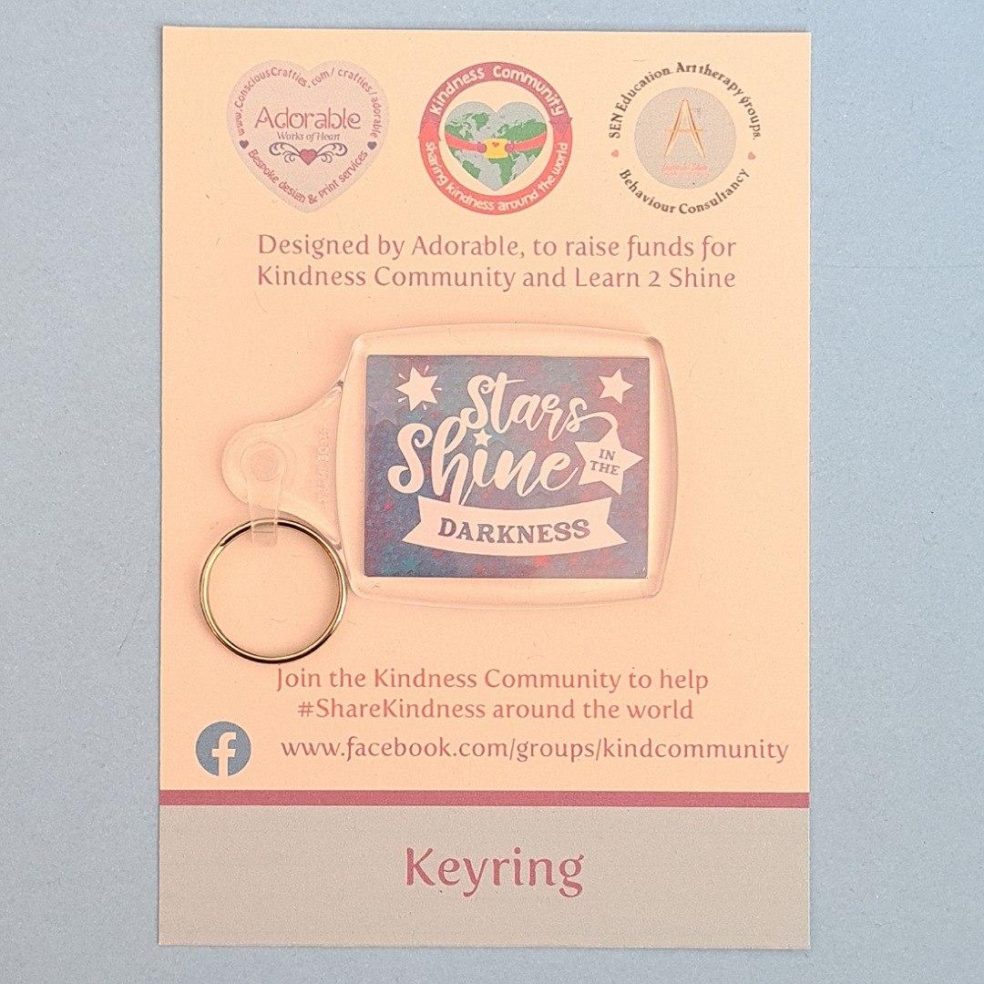 Keyring: Stars shine in the darkness. Fundraising keyring. Kind Shop 2