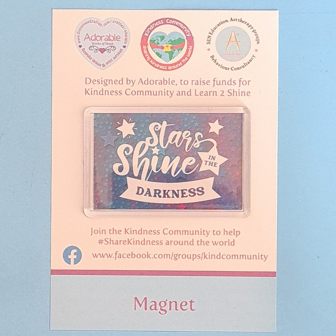 Magnet: Stars shine in the darkness. Fundraising Magnet Kind Shop 2