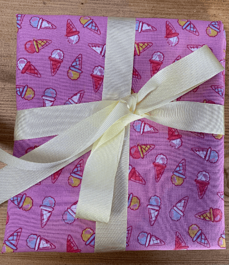 Children Kids Reusable Fabric Gift Wrap (Pink IceCreams) Kind Shop