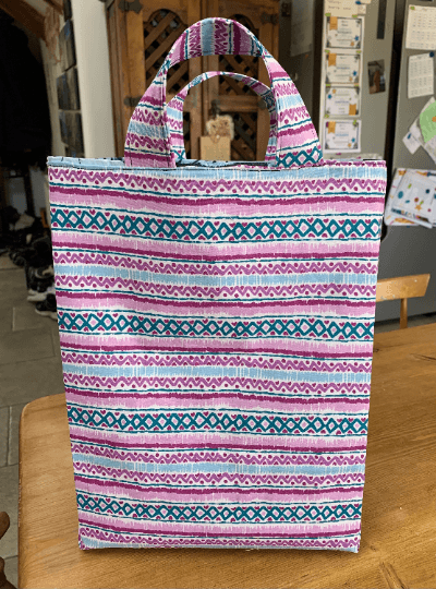 Tall Large Reusable Fabric Gift Bag with Handles (Pink Purple Pattern) Kind Shop