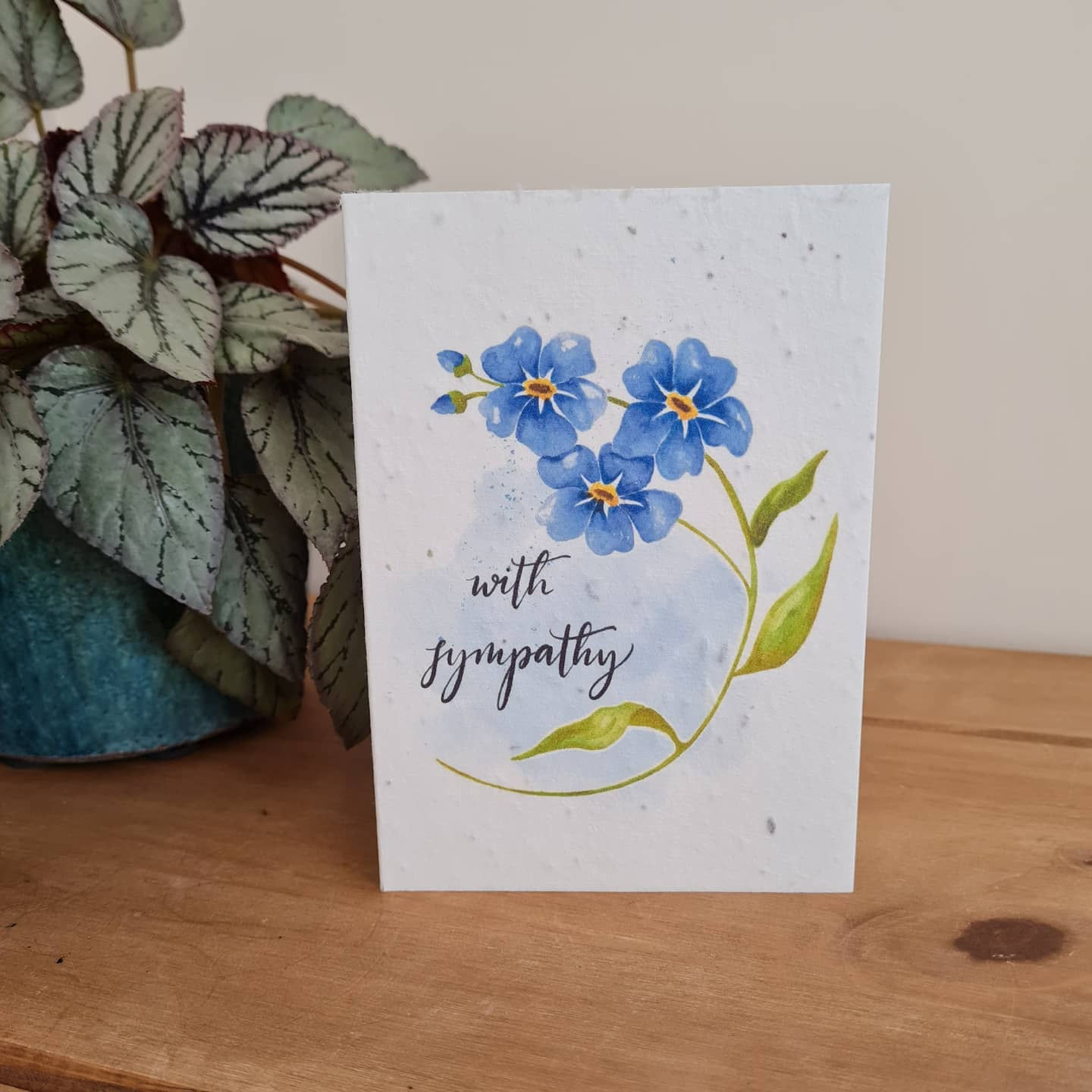 Plantable Wildflower Sympathy Seed Card 'Forget Me Not' Bee and Eco Friendly