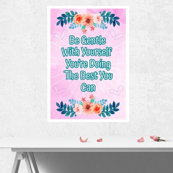 Positive Artwork Poster Print With Positive Quote – Be Gentle With Yourself Kind Shop