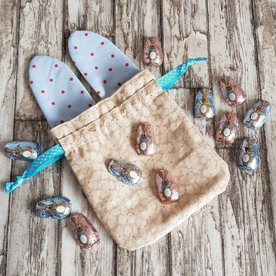 Reusable Treat Bags Easter Gift Bag – Happy Bunny Rabbit Ears Eco Friendly Recycled Fabric Kind Shop 3