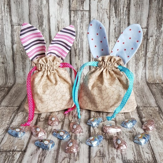 Reusable Treat Bags Easter Gift Bag – Happy Bunny Rabbit Ears Eco Friendly Recycled Fabric Kind Shop