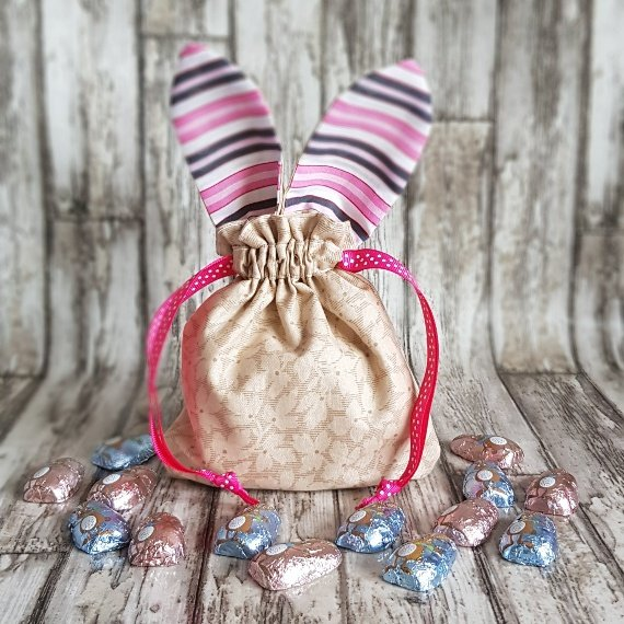 Reusable Treat Bags Easter Gift Bag – Happy Bunny Rabbit Ears Eco Friendly Recycled Fabric Kind Shop 4