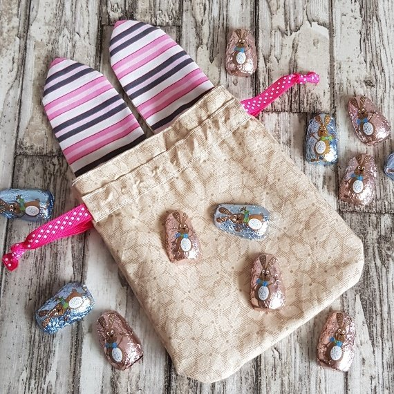 Reusable Treat Bags Easter Gift Bag – Happy Bunny Rabbit Ears Eco Friendly Recycled Fabric Kind Shop 5