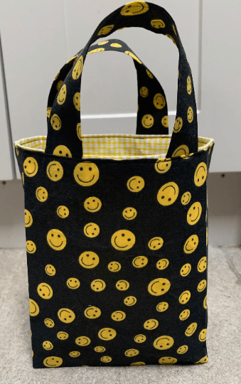 Tall Small Reusable Fabric Gift Bag with Handles (Black & Yellow Smiley Faces) Kind Shop