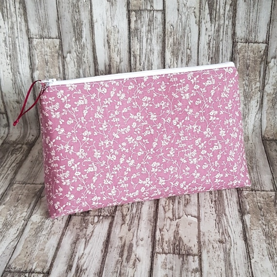 Recycled Fabric Make Up Bag Pretty Pink Flowers