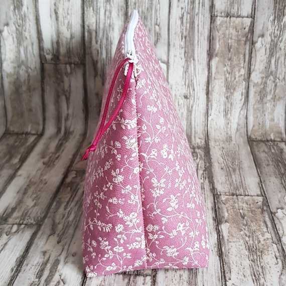 Recycled Fabric Make Up Bag, Open Wide Flat Bottom | Ditsy Pink Flowers Kind Shop 2