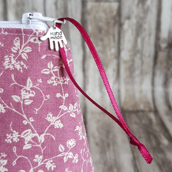 Recycled Fabric Make Up Bag, Open Wide Flat Bottom | Ditsy Pink Flowers Kind Shop 4