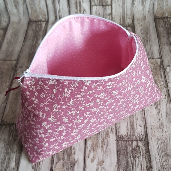 Recycled Fabric Make Up Bag, Open Wide Flat Bottom | Ditsy Pink Flowers Kind Shop 3