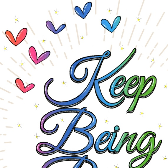 Positive Artwork Poster Print With Positive Quote – Keep Being Brave Kind Shop 2